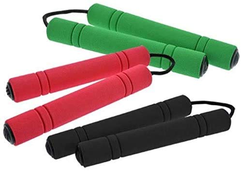 Set of 3 Foam Nunchucks for Kids, Red, Green and Black. Fun Ninja Toy for Boys and Girls, Pretend Nunchucks with Soft Handles. Great for Ninja Costume Props and Party Favors.