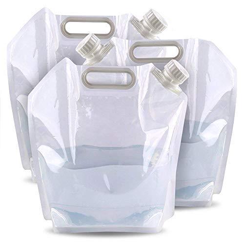 3 Bidon de Agua Plástico, 5-Litros, Trasparente - Portátil, Plegable, Resistente y Sin BPA - Contenedores Almacenamiento de Agua, Recipiente de Agua| Transportar Deportes Acampada Senderismo Picnic.