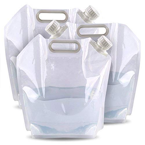 3 Sacs à Eau/Réservoirs d'eau Portables Pliables DE 5 litres - Parfait pour Le Camping, la Randonnée, l'escalade, Les Voyages et Les Activités en Plein air, bidon Eau Pliable