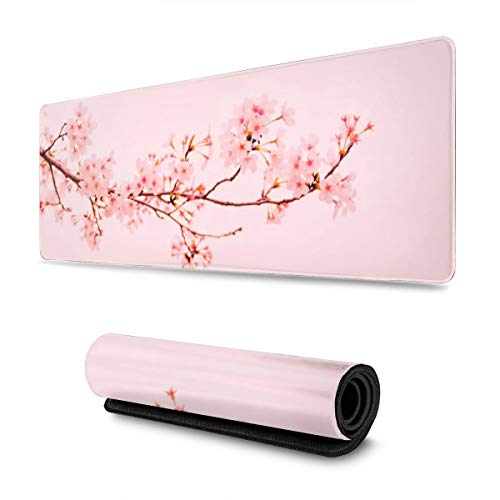 Pink Sakura Cherry Blossom Flower Gaming Mouse Pad XL, Extended Large Mouse Mat Desk Pad, Stitched Edges Mousepad, Long Non-Slip Rubber Base Mice Pad, 31.5 X 11.8 Inch