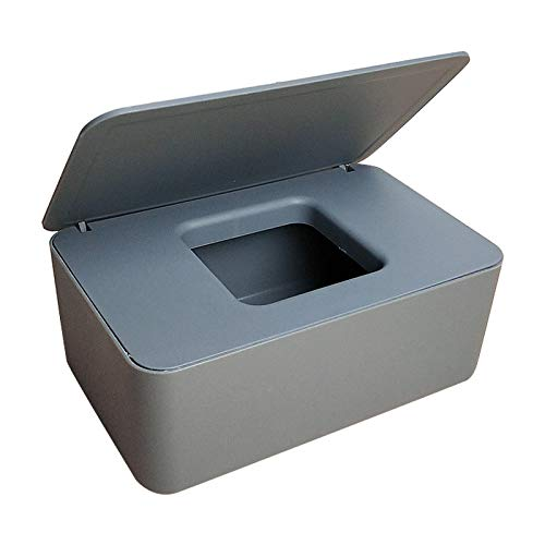 Feuchttücherspender, staubdichte Taschentuch-Aufbewahrungsbox, Feuchttücherspender, Halter mit Deckel für Home Office Schreibtisch 18.5 x 12.2 x 7cm grau