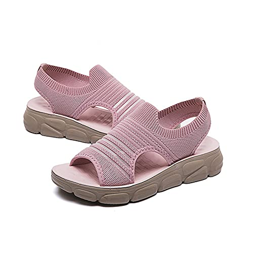 BIUBIULOVE Damen Casual Flying Stoff Sportsandalen,Mesh Walking Sneakers,Mode rutschfeste Mesh-Sportsandalen,Atmungsaktive Pantoletten-Sandalen (Pink, 43)
