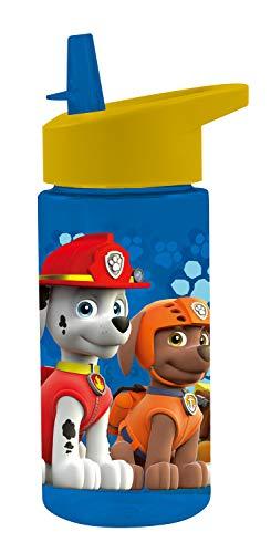 POS 28230088 - Trinkflasche mit Paw Patrol Motiv, transparent mit Strohhalm zum hochklappen, BPA-frei, Fassungsvermögen ca. 450 ml, ideal für Schule, Sport und Freizeit