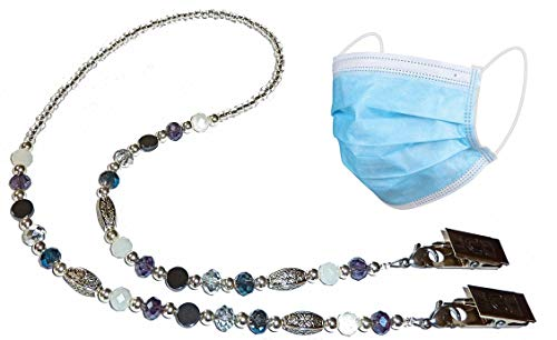 Face Mask Holder Stylish With Clips Women Girls Made in USA Safe Comfortable Decorative Lanyard Strap Necklace Jewelry Chain (Multi)