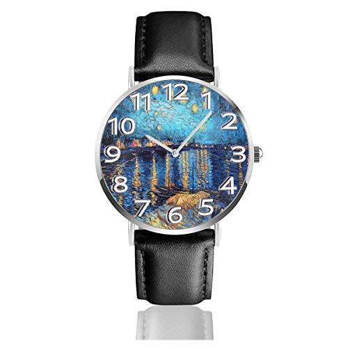 Oi 浜 哖 anting Starry Sky Uhren Robuste Armbanduhr aus PU-Leder Life Silence Quartz Watch