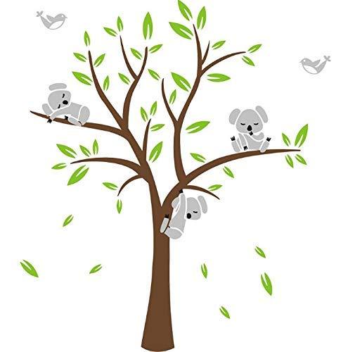 Sayala Baum Wandtattoo-3 Baby Koala Wandaufkleber-Babyzimmer Tierwelt Baby Wandaufkleber Kleinkind Sticker Mädchenzimmer Wanddekor (Hellblau)