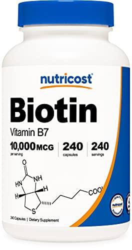 Nutricost Biotin (Vitamin B7) 10,000mcg (10mg), 240 Capsules - Vegetarian Friendly, Gluten Free, Non-GMO