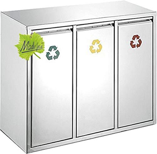 *Made for us 45 L Edelstahl Wand-Abfalleimer 3×15 L Mülleimer 3-fach Mülltrennung 3er Müll-Trennsystem 45 Liter Abfallsammler zur Abfall-Trennung*