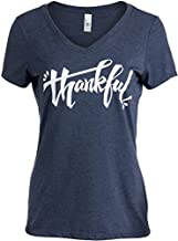 Thankful | Grateful Gratitude Positive Message Blessed V-Neck T-Shirt for Women-(Vneck,XL) Vintage Navy
