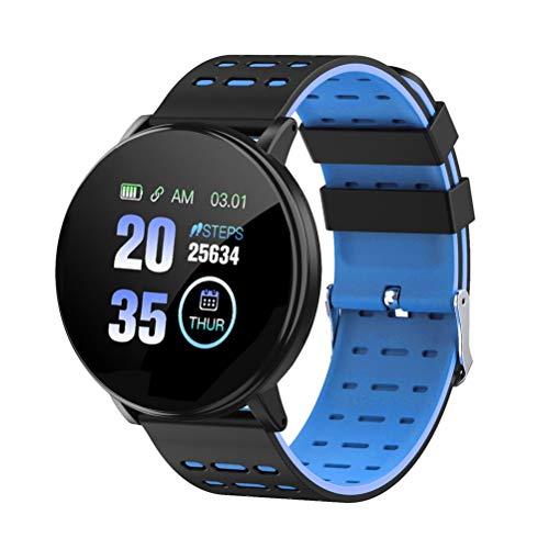 RongWang Pulsera Inteligente Ritmo cardíaco Deporte Reloj Inteligente Deporte Banda Inteligente para Android iOS Hombres Mujeres Pulsera Inteligente (Color : Blue)