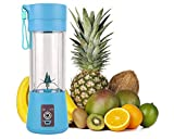 Portable Blender, Fruit Juicer Cup,13oz Mixing Machine with Six Blades in 3D, Magnetic sensor and 2000mAh USB Rechargeable Batteries, Perfect Mini Smoothie Blender Cup for Personal Use (Blue)