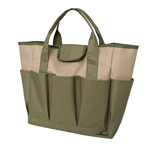 Great Deal! Portable 600D Oxford Cloth Multi-Pocket Garden Tools Storage Bag Carrier Tote - Khaki