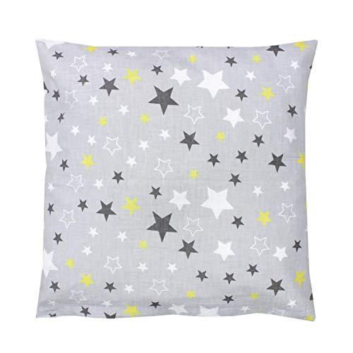 TupTam Funda para Cojin con Diseño Decorativo para Niños, Estrellas Amarillo/Gris, 50 x 50 cm