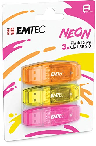 EMTEC C410 USB 2.0 Flash Drive 8 GB 5 MB/S Reading, 15 MB/S Writing, Compatible with USB 2.0, USB 3.0, Transparent Neon with Cap, Pack of 3