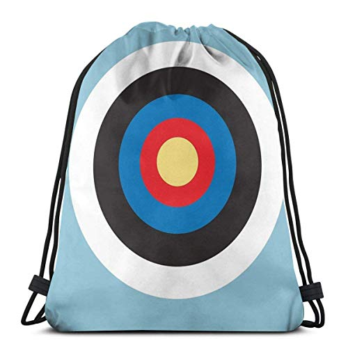 Bulls Eye Right On Target Roundel Archery Mod Hit On Blue Drawstring Backpack Bag Lightweight Gym Travel Yoga Casual Snackpack Shoulder Bag for Hiking Swimming Beach