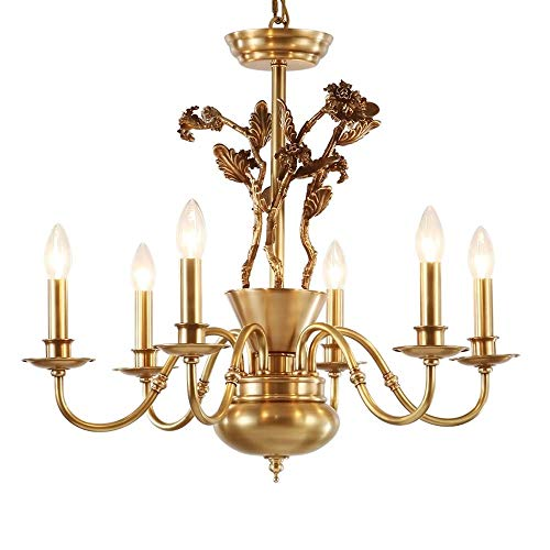 SWNN Chandeliers Country - Lámpara de araña de cobre para dormitorio, comedor, sala de estar, iluminación creativa (6 bombillas en espiral completas)
