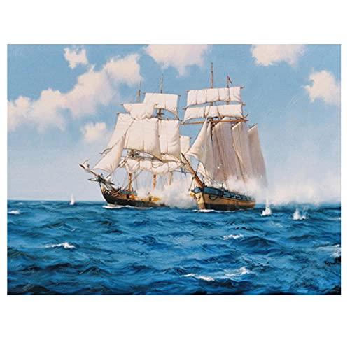 EWRH 5D DIY Diamond Painting Sea Sailing Boat 40X30CM Adult Diamond Painting Kit Cross Stitch Kit Full Rhinestone Diamond Artist Home Decoration M5699
