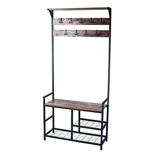 Ghvi Perchero para zapatos, banco de almacenamiento de entrada, muebles de aspecto de madera con marco de metal, diseño 3 en 1 (marrón rústico)