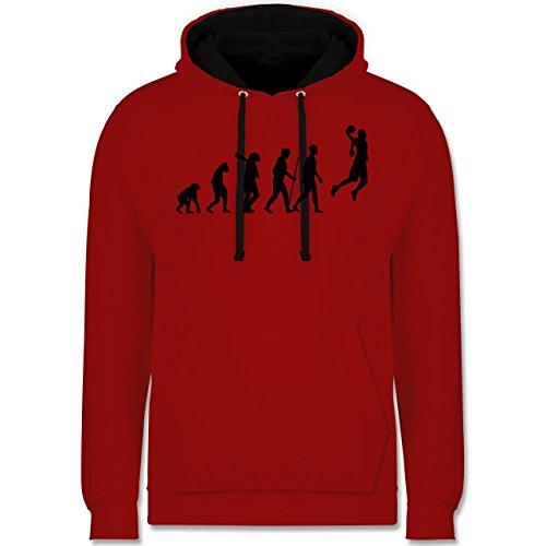 Shirtracer Evolution - Basketball Evolution - XL - Rot/Schwarz - Geschenk männer - JH003 - Hoodie zweifarbig und Kapuzenpullover für Herren und Damen