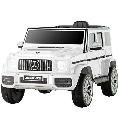 Uenjoy 12V Licensed Mercedes-Benz G63 Kids Ride On Car Electric Cars Motorized Vehicles for Girls,Boys, with Remote Control, Music, Horn, Spring Suspension, Safety Lock, LED Light,AUX, White Iowa
