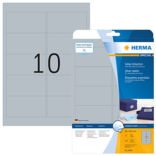 HERMA 4099 Wetterfeste Folien-Etiketten DIN A4 silber (96 x 50,8 mm, 25 Blatt, Polyesterfolie, glänzend) selbstklebend, bedruckbar, permanent haftende Etiketten Aufkleber, 250 Klebeetiketten