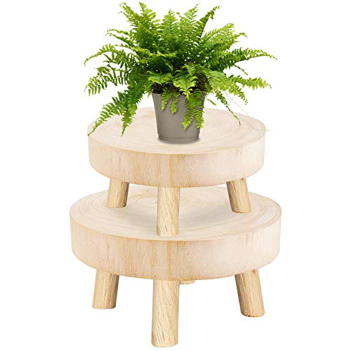 Set of 2 Mini Wooden Stool Display Stand- Round Plant Stand Modern Flower Shelf Bonsai Rack Holder, Garden Plant Pot Riser Stand with Wood Grain for Indoor Outdoor Mantle Balcony Garden Decor (S, M)