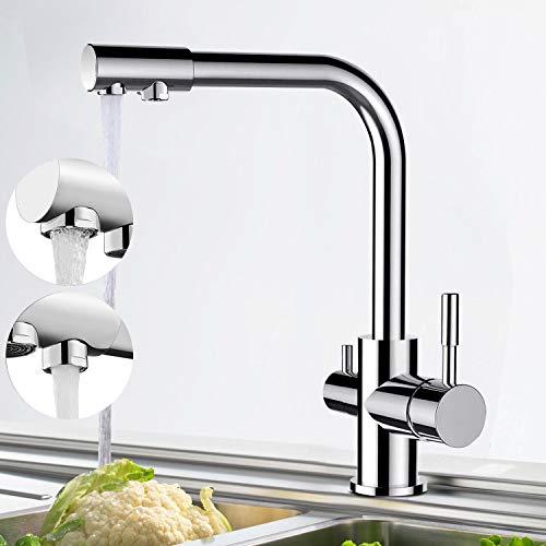 Grifo de cocina de 3 vías, giratorio 360°, grifo mezclador monomando para fregadero de cocina, de VENTCY con 2 palancas para fregadero de cocina, 3 vías, 3 en 1, grifo de agua potable