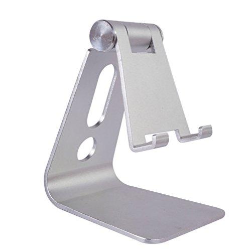 UKCOCO Einstellbare Aluminium Stand Multi-Winkel Handy Halter Cradle Dock Stand für iPhone 7 6 6 s Plus 5 5 s 5c Tabletten Android Smartphone Universal Phone Stand (Silber)
