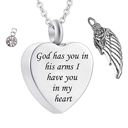 UGBJ Colgantes para Cenizas Dios la Tiene en Sus Brazos con alas de ángel, Encanto, fieraños, fieraños, joyería, joyería, Monumento, Monumento, Collar de urna con Cristal de Piedra de Nacimiento