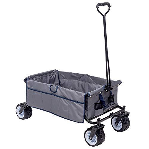 WOLTU Bollerwagen faltbar Handwagen Strandwagen mit 4 Rollen für den Garten Camping 80 kg belastbar TW001gr