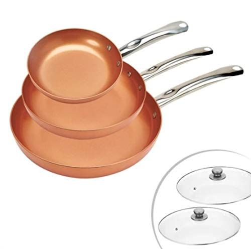 Juego de Sartenes Acero Inoxidable 3 y 2 Tapas Color Cobre Apto para Horno Mango Set Sarte Cocinas Ceramica Cocina Comida
