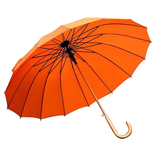Planen Pavillon UV-beständig Winddicht Erhöhen Sie Den Langen Griff Aus Massivem Holz Windresistent Doppelte Erhöhung Der Schirmoberfläche 115cm ZHANGAIZHEN (Farbe : Orange, größe : 95 * 115cm)