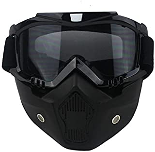 VCOROS Modular Mask with Goggle & Mouth Filter for 3/4 Open Face Motorcycle Helmets (Black Frame/Dk Smoke Lens)