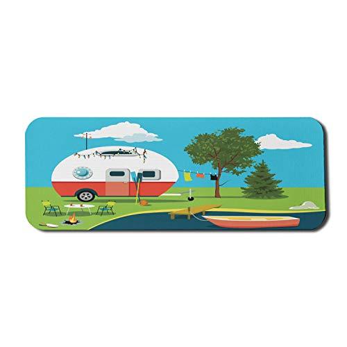 Happy Camper Computer Mauspad, Cartoon Angeln Trip Szene Wohnwagen Boot Feuerstelle Camping Tisch Wäscheleine, Rechteck rutschfeste Gummi Mousepad große mehrfarbig