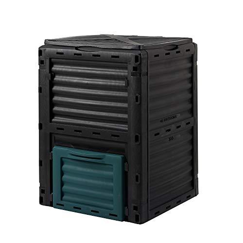 wuuhoo® I Thermo-Komposter Rotti aus witterungsbeständigem Kunststoff I Schnellkomposter mit Belüftungsschlitzen I zusammenklappbar mit Deckel I 300 Liter