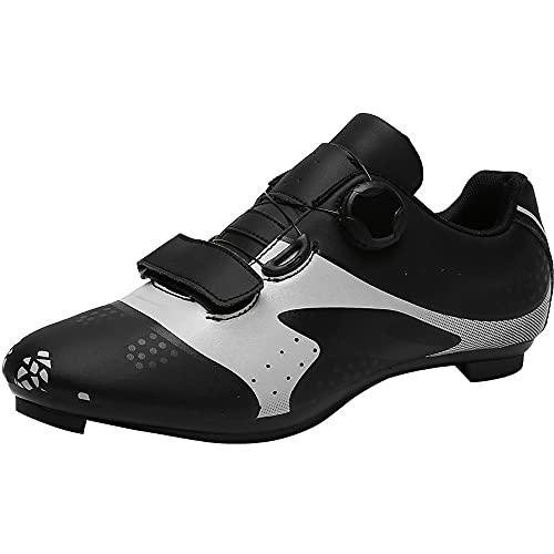 KUXUAN Zapatillas de Ciclismo Zapatillas de Bicicleta de Carretera para Hombre Cordón Giratorio con Tacos Compatibles Peloton con SPD y Pedal de Bloqueo Delta,Black-8UK=(260mm)=42EU
