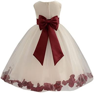 Wedding Pageant Flower Petals Girl Ivory Dress with Bow Tie Sash 302a 4 product image