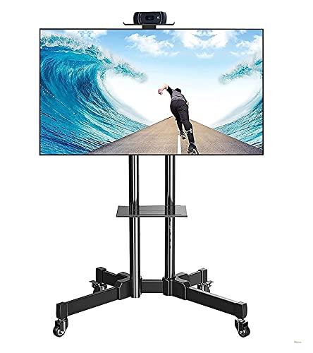Soporte de piso para TV móvil con ruedas y 2 estantes para TV de 70 a 32 pulgadas (color negro)