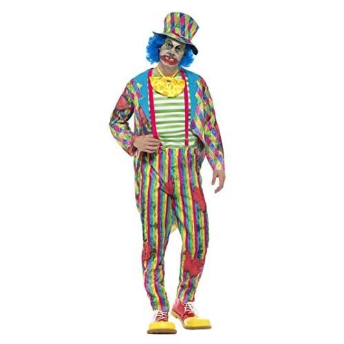 SMIFFYS Costume deluxe clown di patchwork da uomo, Multicolore, con giacca, pantaloni, p