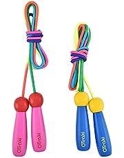 OTraki Verstelbaar springtouw voor kinderen, 2 stuks, 200 cm, touwtje met houten handvat en katoenen touw, voor jongens en meisjes, om fitness spel en botontwikkeling te bevorderen