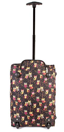 CABIN-WB-OP-01 Black Owl Print Two Wheeled Light Cabin Suitcase Hand Luggage Flight Travel Bag
