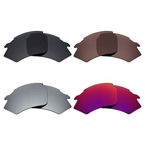 Mryok 4 Paar polarisierte Ersatzgläser für Rudy Project Stratofly Sonnenbrillen – Stealth Black/Bronze Brown/Silver Titanium/Midnight Sun