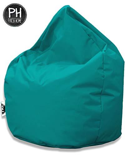Patchhome Sitzsack Tropfenform - 3 Größen - 25 Farben XXXL - 125cm, Durchmesser 105cm Türkis