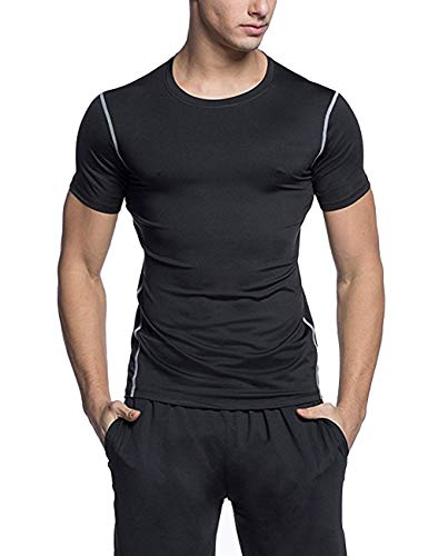 FITTOO Men's Cool Dry Compression Sport T-Shirt Base Layer Tops, L, Black -...