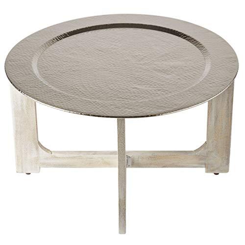 Wohnzimmertisch Couchtisch rund modern aus Metall und Holz ø 80cm   Marokkanischer runder Vintage Tisch Klapptisch klappbar   Moderner Design Runder Sofatisch mit Tablett in Silber Hochglanz