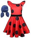 EMIN Niña Disfraz de Ladybug Costume para Niño Cosplay Ropa Puntos Vestido de Fiesta de Cumpleaños de Halloween Carnaval Ropa Sin Mangas de Lunares Vestido de Tulle con la Peluca del Ocio