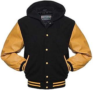 Warrior Gears® Classic Hybrid Varsity Jacket University Letterman Bomber Jacket- Black Pure Wool Body & Gold/Yellow Real L...