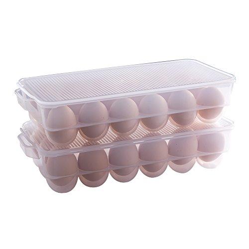 Olivisa Kühlschrank Eierhalter Plastik Eier Aufbewahrungsbox Kühlschrank Eierbehälter mit Deckel (18 Eier)