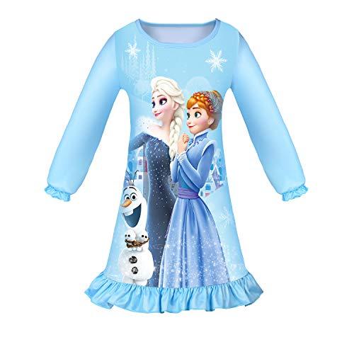 LQSZ Mädchen Nachthemd Prinzessin Kleid Nachtwäsche Nachthemden Pyjamas für Kinder Geschenk, B Blau, 100