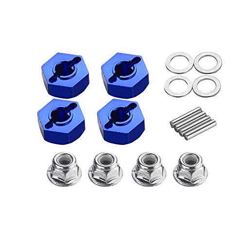 Upgrade Aluminum Hex Wheel Hubs 12mm w/Axle Pins Nuts Washers Set for 1/10 Traxxas 2WD Slash Stampede Rustler Replace 3654 1654 Blue-Anodized